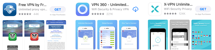 free VPNs results in app store